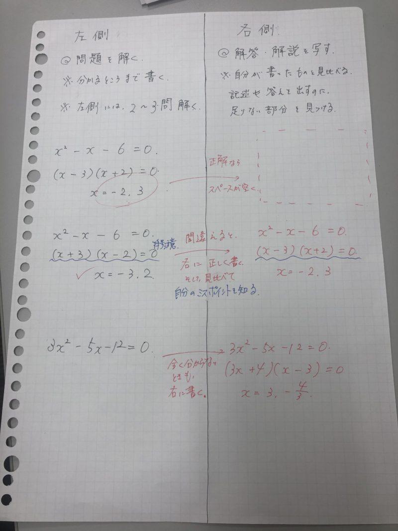 ノートの使い方(数学)